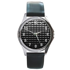 Plaid White Black Round Metal Watch by Mariart