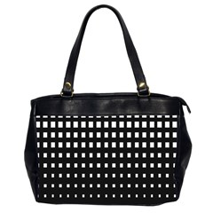 Plaid White Black Office Handbags (2 Sides)  by Mariart