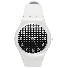 Plaid White Black Round Plastic Sport Watch (m) by Mariart
