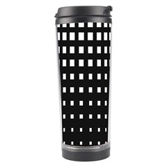 Plaid White Black Travel Tumbler by Mariart