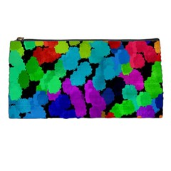Colorful Strokes On A Black Background         Pencil Case by LalyLauraFLM