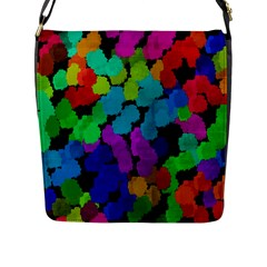Colorful Strokes On A Black Background               Flap Closure Messenger Bag (l) by LalyLauraFLM