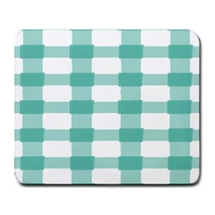 Plaid Blue Green White Line Large Mousepads by Mariart