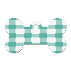 Plaid Blue Green White Line Dog Tag Bone (two Sides) by Mariart
