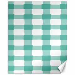 Plaid Blue Green White Line Canvas 11  X 14   by Mariart