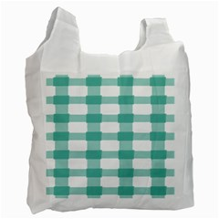 Plaid Blue Green White Line Recycle Bag (one Side) by Mariart