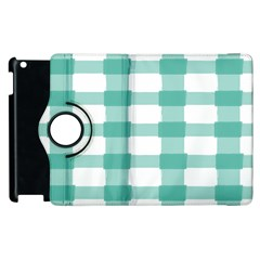 Plaid Blue Green White Line Apple Ipad 3/4 Flip 360 Case by Mariart