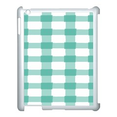 Plaid Blue Green White Line Apple Ipad 3/4 Case (white) by Mariart