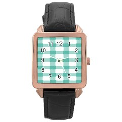 Plaid Blue Green White Line Rose Gold Leather Watch  by Mariart