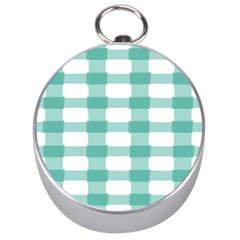 Plaid Blue Green White Line Silver Compasses