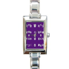 Purple Flower Floral Star White Rectangle Italian Charm Watch by Mariart