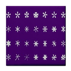 Purple Flower Floral Star White Tile Coasters by Mariart