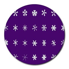 Purple Flower Floral Star White Round Mousepads