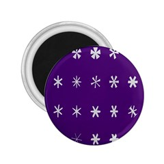 Purple Flower Floral Star White 2 25  Magnets by Mariart