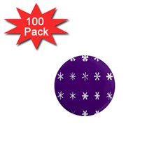 Purple Flower Floral Star White 1  Mini Magnets (100 Pack)