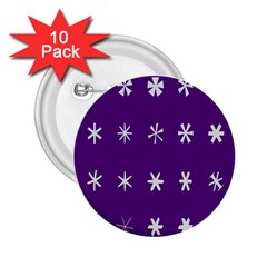 Purple Flower Floral Star White 2 25  Buttons (10 Pack)