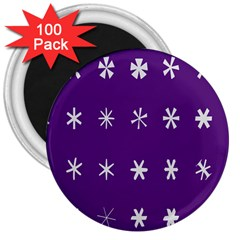 Purple Flower Floral Star White 3  Magnets (100 Pack)