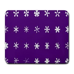 Purple Flower Floral Star White Large Mousepads by Mariart