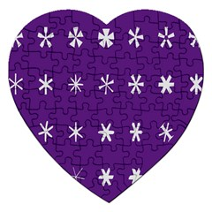 Purple Flower Floral Star White Jigsaw Puzzle (heart) by Mariart