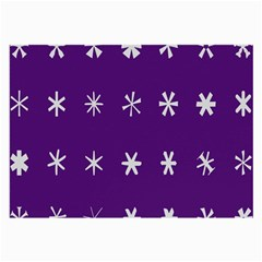 Purple Flower Floral Star White Large Glasses Cloth (2 Side)