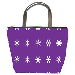 Purple Flower Floral Star White Bucket Bags by Mariart
