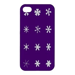 Purple Flower Floral Star White Apple Iphone 4/4s Hardshell Case by Mariart