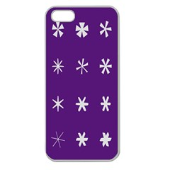 Purple Flower Floral Star White Apple Seamless Iphone 5 Case (clear) by Mariart