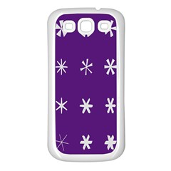 Purple Flower Floral Star White Samsung Galaxy S3 Back Case (white) by Mariart