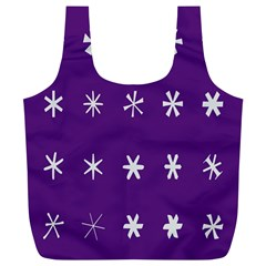 Purple Flower Floral Star White Full Print Recycle Bags (l)  by Mariart