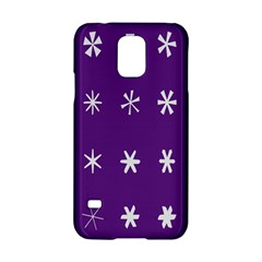 Purple Flower Floral Star White Samsung Galaxy S5 Hardshell Case  by Mariart
