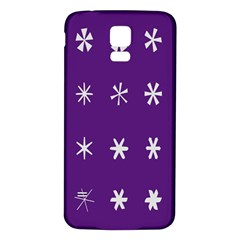 Purple Flower Floral Star White Samsung Galaxy S5 Back Case (white) by Mariart