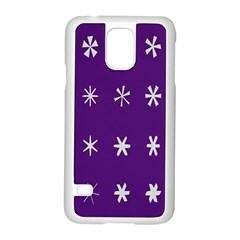 Purple Flower Floral Star White Samsung Galaxy S5 Case (white) by Mariart
