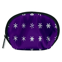 Purple Flower Floral Star White Accessory Pouches (medium)  by Mariart