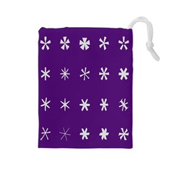Purple Flower Floral Star White Drawstring Pouches (large)  by Mariart