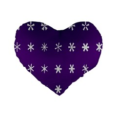 Purple Flower Floral Star White Standard 16  Premium Flano Heart Shape Cushions by Mariart