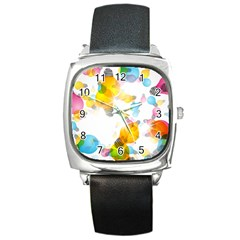 Lamp Color Rainbow Light Square Metal Watch by Mariart