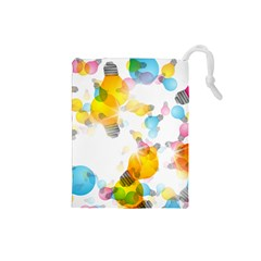 Lamp Color Rainbow Light Drawstring Pouches (small)  by Mariart