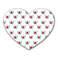 Sage Apple Wrap Smile Face Fruit Heart Mousepads by Mariart