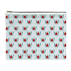 Sage Apple Wrap Smile Face Fruit Cosmetic Bag (xl) by Mariart