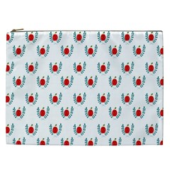 Sage Apple Wrap Smile Face Fruit Cosmetic Bag (xxl)  by Mariart