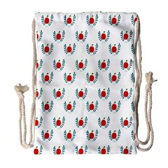 Sage Apple Wrap Smile Face Fruit Drawstring Bag (large) by Mariart