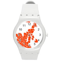 Red Spot Paint Round Plastic Sport Watch (m) by Mariart
