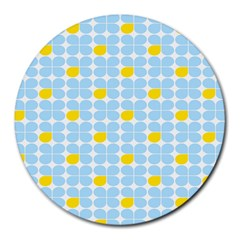 Retro Stig Lindberg Vintage Posters Yellow Blue Round Mousepads by Mariart