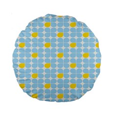 Retro Stig Lindberg Vintage Posters Yellow Blue Standard 15  Premium Round Cushions by Mariart