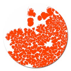 Red Spot Paint White Polka Magnet 5  (round)
