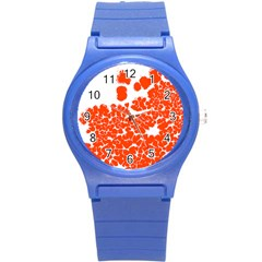 Red Spot Paint White Polka Round Plastic Sport Watch (s) by Mariart