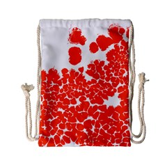Red Spot Paint White Polka Drawstring Bag (small) by Mariart