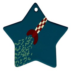 Rocket Ship Space Blue Sky Red White Fly Ornament (star)