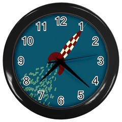 Rocket Ship Space Blue Sky Red White Fly Wall Clocks (black)