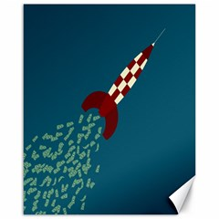 Rocket Ship Space Blue Sky Red White Fly Canvas 16  X 20   by Mariart